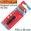 IMPACT POZI.3 X 50MM POWER BIT 2/CARD