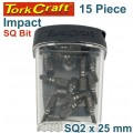 IMPACT SQUARE RECESS BIT NO2 25MM 15PC TIC TAC CASE