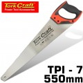 HAND SAW 550MM 7TPI 0.9MM TEMP. BLADE ABS HANDLE