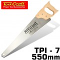 HAND SAW 550MM 7TPI 0.9MM TEMP. BLADE WOOD HANDLE
