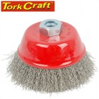 WIRE CUP BRUSH 100 X M14 CRIMPED STAINLESS STEEL TCW