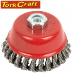 WIRE CUP BRUSH 100 X M14 KNOTTED STAINLESS STEEL BULK