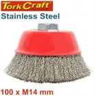 WIRE CUP BRUSH 100 X M14 CRIMPED STAINLESS STEEL BULK TCW