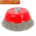 WIRE CUP BRUSH 150 X M14 CRIMPED STAINLESS STEEL BULK TCW