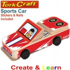 CREATE AND LEARN WOODEN PULL BACK SPORTS CAR