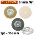 BENCH GRINDER SET 150MM 3PCE 1 x WIRE 1 x BUFF 1 x NYLON WHEEL