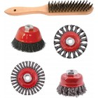 WIRE BRUSH ANGLE GRINDER KIT M14 CRIMPED & KNOTTED SET 5PCE HAND BRUSH