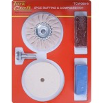 POLISHING BUFFING & COMPOUND KIT 5PCE WITH FELT BUFF FOR DRILL
