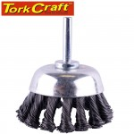 WIRE CUP BRUSH TWISTED PLAIN 65MM X 6MM SHAFT BLISTER
