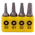 SCREWDRIVER BIT SET SQUARE RECESS 4PCE 25MM SQ0.1.2.3
