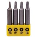 SCREWDRIVER BIT SET SQUARE RECESS 4PCE 50MM SQ0.1.2.3