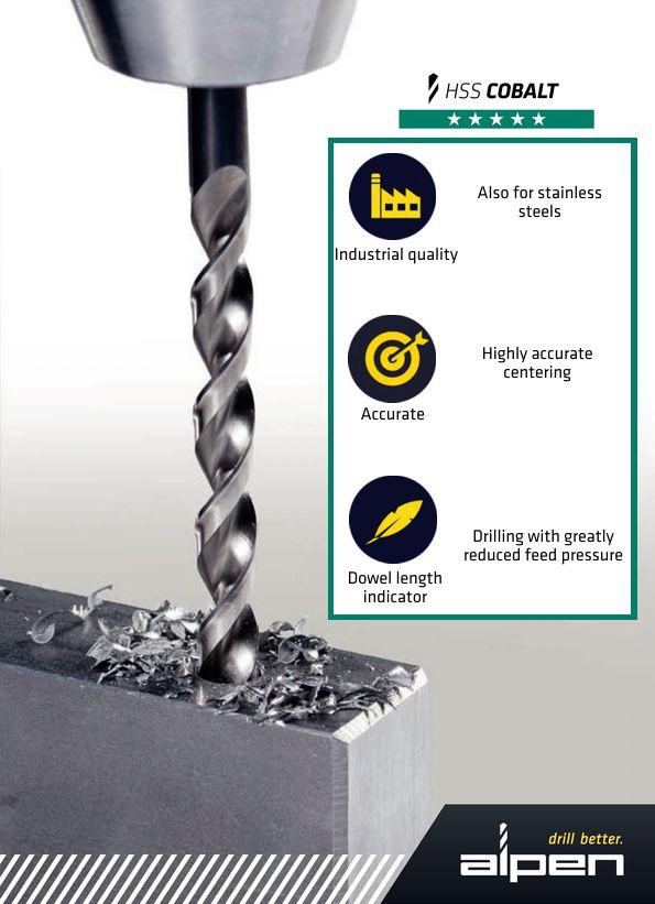 Alpen HSS Cobalt series drill bit features