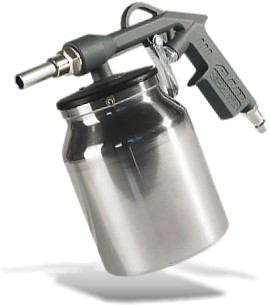 SPRAY GUN FOR RUBBERISING WITH LOWER CUP